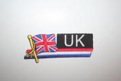 United Kingdom UK Sidekick Word Country Flag Iron on Patch Crest Badge ... 3.8cm X 11cm ... New