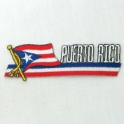 Puerto Rico Sidekick Word Country Flag Iron on Patch Crest Badge ... 3.8cm X 11cm ... New