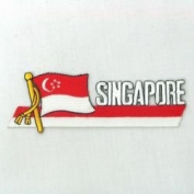 Singapore Sidekick Word Country Flag Iron on Patch Crest Badge ... 3.8cm X 11cm ... New