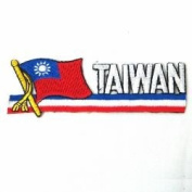Taiwan Sidekick Word Country Flag Iron on Patch Crest Badge ... 3.8cm X 11cm ... New