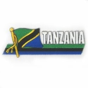 Tanzania Sidekick Word Country Flag Iron on Patch Crest Badge ... 3.8cm X 11cm ... New