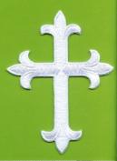 White Fleur De Lis Iron On Embroidered Religious Cross Patch 10cm