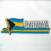 Bahamas Sidekick Word Country Flag Iron on Patch Crest Badge .. 3.8cm X 11cm ... New