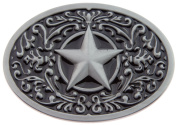 Texas Lone Star State Black Silver Logo Western Rodeo Belt Buckle