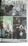 STUFFED BEAR, PANDA, SEAL, DOG AND CAT CRAFT SEWING PATTERN FROM MCCALLS #6814