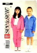 See & Sew 3947 Sewing Pattern Girls Jacket Skirt Pants Size 6 - 7 - 8