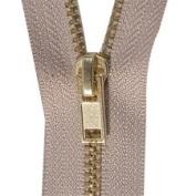 80cm Brass Zipper, Beige