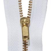 80cm Brass Zipper, White