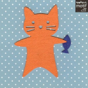Cat with fish Design Iron on Applique