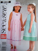 SEE & SEW BY BUTTERICK B4160 CHILDRENS/GIRLS DRESS AND HAT SIZES 2-3-4-5 RATED EASY