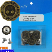 6/PKG 16.8mm Roman Scull Brass NO-SEW JEAN TACK DUNGAREE BUTTONS