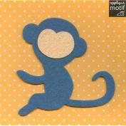 Turquoise monkey Design Iron on Applique