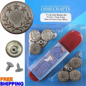 Bachelor Stars & Leaves Grey Silver Kit, 8 Set with Tool Jean Tack Buttons