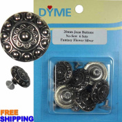 6/PKG 20mm Fantasy Flower Silver Jean Tack Buttons