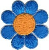 Daisy Flower - Blue with Yellow Centre - Embroidered Sew or Iron on Patch