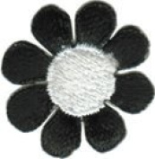Daisy Flower - Black with White Centre - Embroidered Sew or Iron on Patch