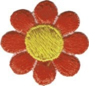 Daisy Flower - Orange with Yellow Centre - Embroidered Sew or Iron on Patch