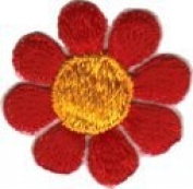 Daisy Flower - Red with Yellow Centre - Embroidered Sew or Iron on Patch