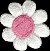 Daisy Flower - White with Pink Centre - Embroidered Sew or Iron on Patch