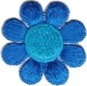 Daisy Flower - Blue with Light Centre - Embroidered Sew or Iron on Patch