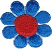 Daisy Flower - Blue with Red Centre - Embroidered Sew or Iron on Patch