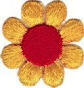 Daisy Flower - Yellow with Red Centre - Embroidered Sew or Iron on Patch