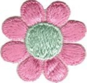 Daisy Flower - Light Pink with Green Centre - Embroidered Sew or Iron on Patch