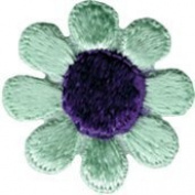 Daisy Flower - Mint Green with Purple Centre - Embroidered Sew or Iron on Patch
