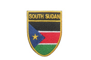 South Sudan Country Flag OVAL SHIELD Embroidered Iron on Patch Crest Badge 5.1cm X 6.4cm .. New