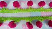 Hot Pink Lime Pom Pom Fringe Lace Applique Trim Embellishments 3 Yards