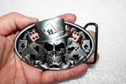 casino dice skull tattoo poker casino belt buckle CS036RD