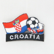 Croatia Hrvatska Soccer Football Kick Country Flag Embroidered Iron on Patch Crest Badge ... 5.1cm X 4.4cm .. New