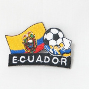 Ecuador Soccer Football Kick Country Flag Embroidered Iron on Patch Crest Badge ... 5.1cm X 4.4cm .. New