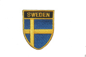 Sweden Country Flag OVAL SHIELD Embroidered Iron on Patch Crest Badge 5.1cm X 6.4cm .. New