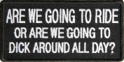 Are We Going To Ride Dick Around All Day Funny Biker Patch, 10cm X 5.1cm , Embroidered iron on patch