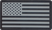Silver & Black US Flag PVC Hook Back Patch