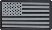 Silver & Black US Flag PVC Hook Back Patch