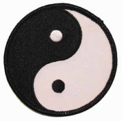 Yin Yang Black & White Embroidered Iron On Patch FD - 7.6cm
