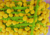 Lemon Yellow Lime Pompom Fringe Dangle Trim Embellishments 3 Yards