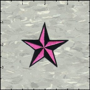 Star Novelty Iron On Embroidered Patch - 5.1cm 3D NEON Pink / Black Nautical Star Applique