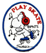 Snoopy ' Play Skate ' rollerskate with earmuffs on listening to music Embroidered Peanuts Iron On / Sew On Patch