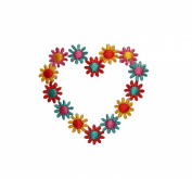 ID #6195 Multicolor Daisy Heart Flowers Plant Iron On Embroidered Patch Applique