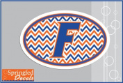 Florida Gators BLOCK F LOGO CHEVRON STRIPES EURO Vinyl Decal Car Truck Window UF Mom Sticker