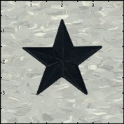 6.4cm Star Embroidered Iron on Applique Patch FD - Black