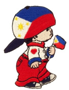 Philippines Little Boy Country Flag Embroidered Iron on Patch Crest Badge ... 7.6cm X 5.1cm .. New