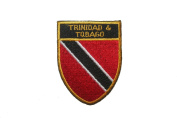 Trinidad & Tobago Country Flag OVAL SHIELD Embroidered Iron on Patch Crest Badge 5.1cm X 6.4cm .. New