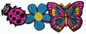 Hippie Lady Bug Flower Butterfly Embroidered Iron On Patch