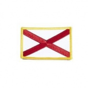 Alabama USA State Flag Iron on Patch Crest Badge .. 5.4cm X 8.3cm ... New