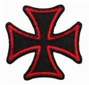 5.1cm Maltese Cross Embroidered Iron On Biker Applique Patch FD - Red