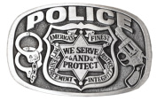 Brand:e & b Police Shield Serve and Protect Enamelled Belt Buckle Wt-008